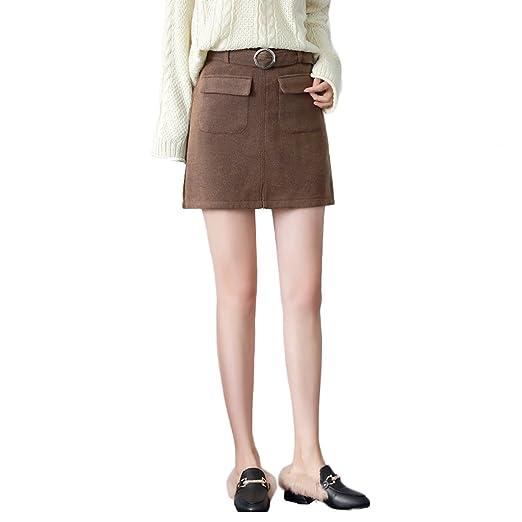 LINSYT Falda recta delgada de la moda de las mujeres Falda corta ...