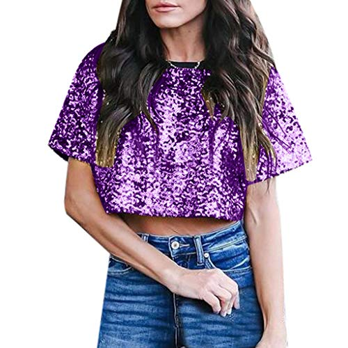 Women's Sequin Glitter Basic Short Sleeve Scoop Neck Crop Top T-Shirt (Purple, L)