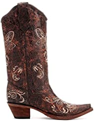 Womens Circle G Distressed Bone Dragonfly Embroidered Boots - Brown, Size 7.5