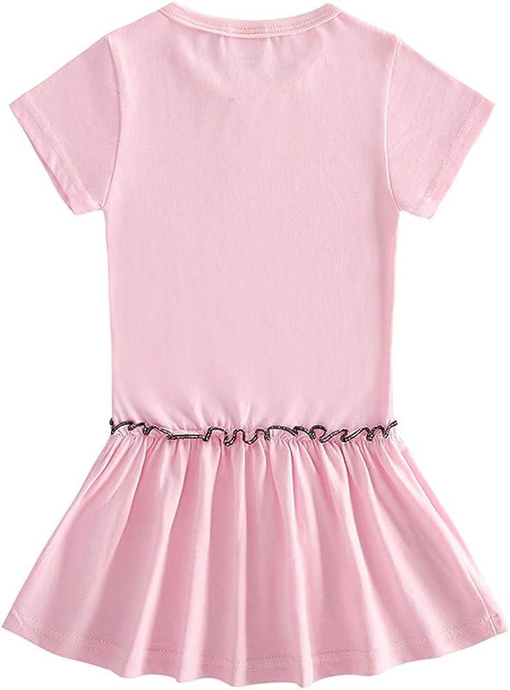Colore Rosa Idea Regalo Abito Maniche Corte Bimba Estivo Vestito Bambina Gatto