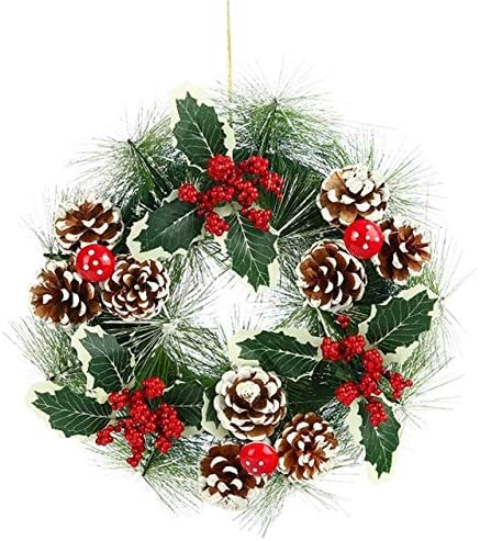1pcs Christmas Wreath Vine Ring Pendant Xmas Party Wall Window Hanging Garland Outside Decor Home Decor - B - S Christmas Wreath