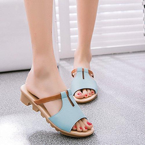 Top-Sell 2017 Verano Moda Baja Muffin Heel Tobogán Deslizamiento En Zapatilla Mujer Sandalias Mocasines Azul