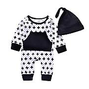 2PCs Baby Kids Black Cross Pocket Cap Hat Long Sleeve Pajamas Bodysuit (0-6M(Tag70), White&Black)