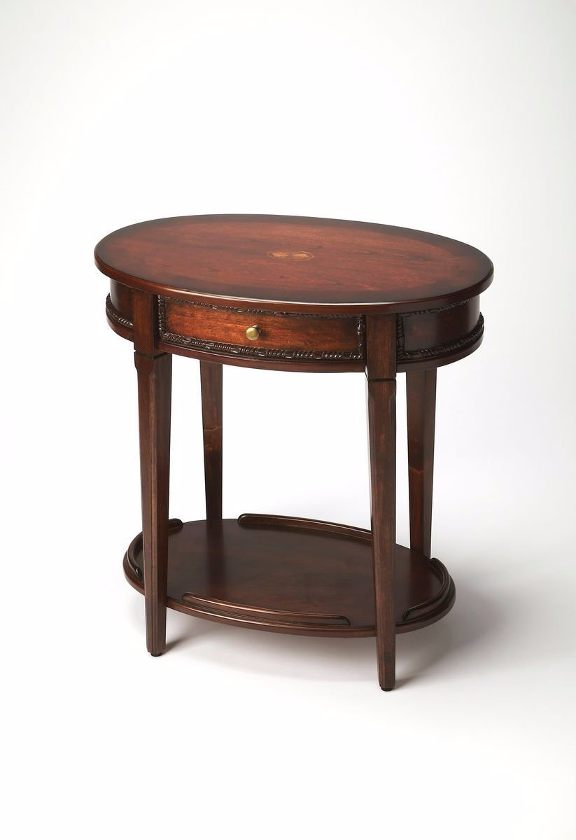 Ambiant Traditional OVAL SIDE TABLE Dark Brown