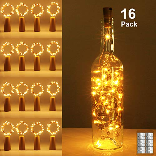 Bottle Lights with Cork 16 Pack,2M 20 LED Copper Wire Battery Operated Wine Bottle Fairy Light for Gift DIY LED String…