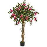 Nearly Natural 5.5' Bougainvillea Tree Artificial Plant, Pink