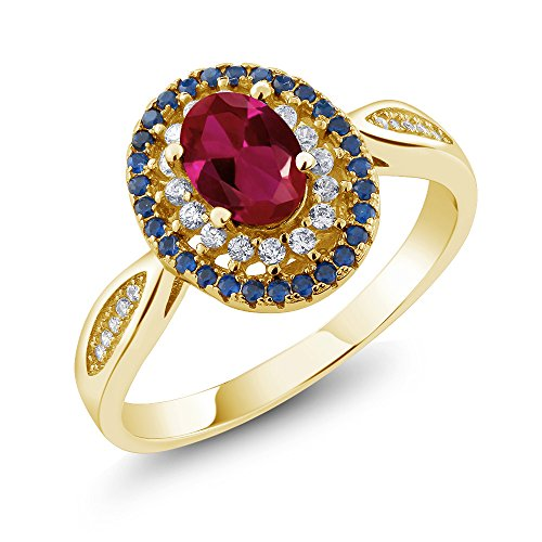 Gem Stone King 18K Yellow Gold Plated Silver Red Created Ruby Women's Ring 1.54 Ctw Oval (Size 5)