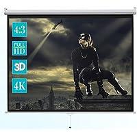 ivolum Rolloleinwand - 240 x 180cm - 4:3 - Als Heimkino-Leinwand oder Business-Leinwand einsetzbar - einfache Montage und Bedienung - Beamer-Leinwand in verschiedenen Größen erhältlich