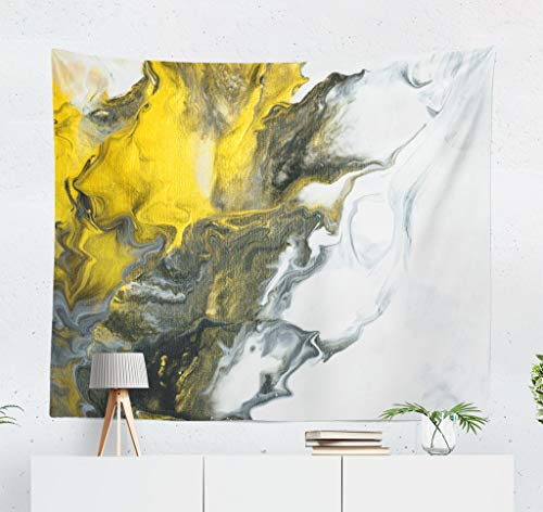 - LALILO Grey and Yellow Art Decorative Tapestry Black and White with Gold Marble Abstract Acrylic Wall Hanging Tapestry for Bedroom Living Kids Girls Boys Room Polyester 80''L x 60''W