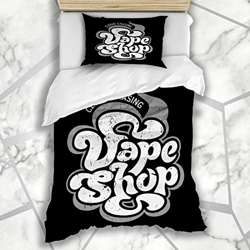 Ahawoso Duvet Cover Sets Twin 68X86 Handdrawn Smoke Vape Vintage Vapor Graphic Alternative Analog Artistic Atomizer Microfiber Bedding with 1 Pillow Shams