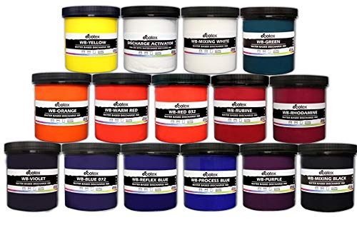Ecotex Water Based Discharge Ink KIT for Screen Printing - 14 Pints of Ink Includes Discharge Activator - Fabric/Textile Ink Screen Print Direct
