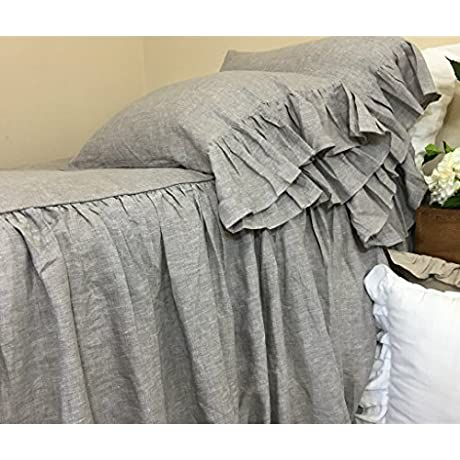 Chambray Graphite Grey Bedspread Natural Linen Ruffle Bed Cover