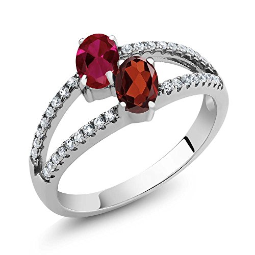 925 Sterling Silver Red Created Ruby and Red Garnet Two Stone Women's Ring 1.41 Ctw Oval (Size ()