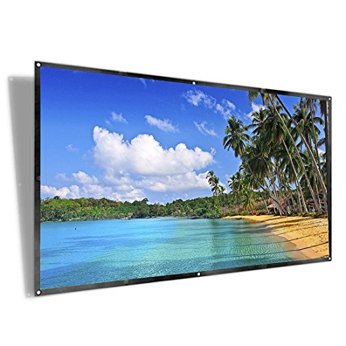 100 inch Projector Screen, iRunning 16:9 HD Foldable Portable Projection Movies Screen with Wrinkle-Free Design for Indoor and Outdoor Camping Home Theater Support Front & Rear Projection by iRunning