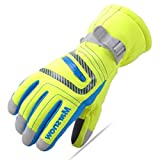 TRIWONDER Waterproof Windproof Ski Snowboard Gloves/Thermal Warm Winter Snow Ski Gloves for Mens, Womens and Kids (M (9-14 years old), Fluorescent Green)