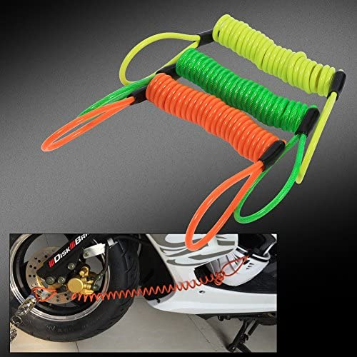 VGEBY Motorcycle Bike Alarm Disc Lock Antitheft Security Spring Reminder Coil Cable COMINU025425 Color : Green