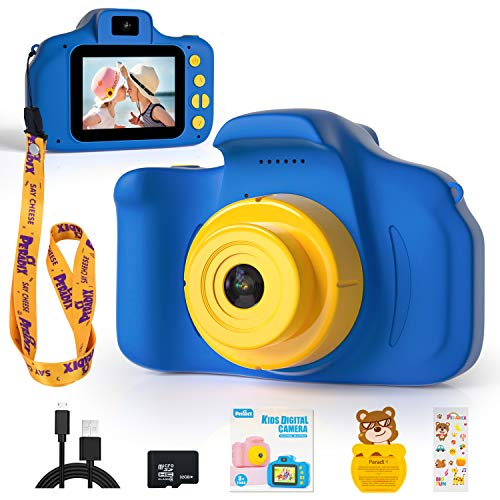 Peradix Kids Digital Camera, Rechargeable Children Digital Camera Video Camcorder Toys Gifts for 3-10 Year Old Boys Girls Kids for Outdoor Play (32GB Card Included)-Blue