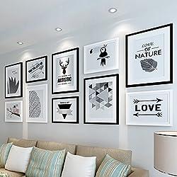 LQQGXL Marco de pared de foto de estilo europeo creativo combinación de pared de cuadro de decoración moderna minimalista Marco de fotos (Color : B)