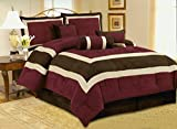 High Quality Soft Micro Suede Comforter Set Bedding-in-a-bag, Burgundy - King