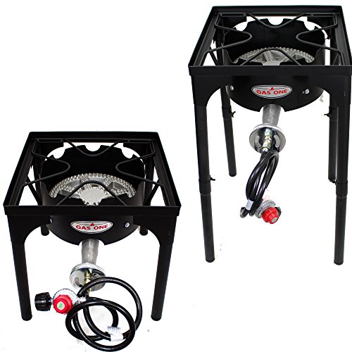 GAS ONE NEW Portable Propane 200,000-BTU High-Pressure Single-Burner Outdoor Camp Stove with Adjustable Legs and CSA Listed 0-20PSI High Pressure Regulator and Hose Perfect for Brewing