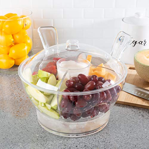 Classic Cuisine 82-KIT1083 Large Cold Server with Lid, Dip Bowl, Serving Utensils, Dividers, and Ice Compartment-for Chips, Punch, Fruit, or Salad, Clear ()