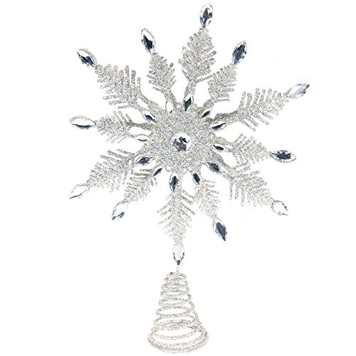 - CEDAR HOME Tree Topper Metal Silver Snowflake 14