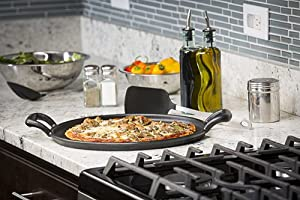 TableCraft CW30118 Cast Iron Pizza Pan, 13.5-Inch, Black