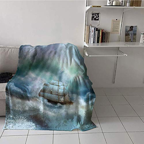 Khaki home Children's Blanket Microfiber Blanket for Sofa Couch Bed (35 by 60 Inch,Ocean,Majestic Nautical Sealife and Pirate Boat Ship on a Wavy Deep Sea Art Print,Blue Grey and White