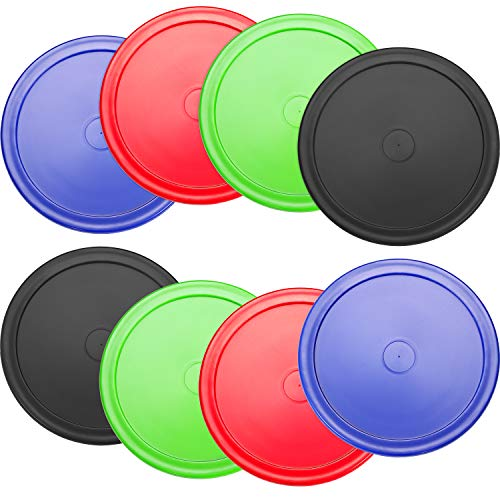Best Review Of 8 Pieces Air Hockey Pucks Replacement Round Pucks for Game Tables, Equipment, Accessories (Red, Green, Blue, Black, 2.5 Inch)