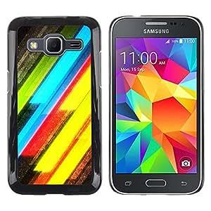 iKiki Tech / Estuche rígido - Neon Lines Yellow Green Electric - Samsung Galaxy Core Prime SM-G360
