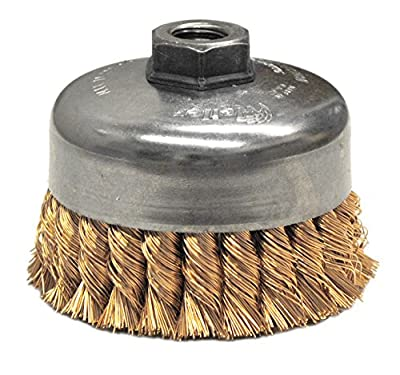 """Weiler 12776 Knot Wire Cup Brush, 4"""" Single Row, 0.20"""" Bronze, 5/8""""-11 UNC Nut"""