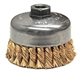 Weiler 12776 Knot Wire Cup Brush, 4'' Single Row, 0.20'' Bronze, 5/8''-11 UNC Nut