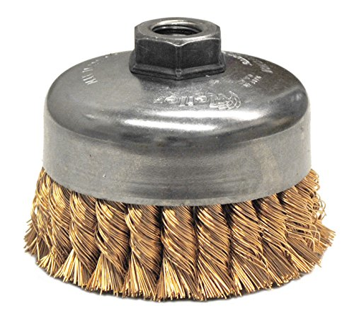 Weiler 12776 Knot Wire Cup Brush, 4'' Single Row, 0.20'' Bronze, 5/8''-11 UNC Nut by Weiler