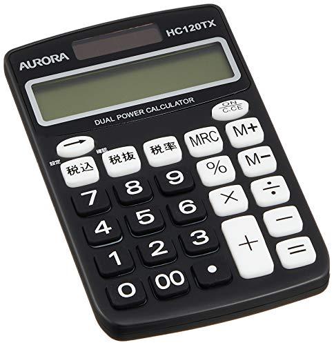 United Color Systems HC120TX-K Aurora Japan - Calculadora (12 dígitos, función de cálculo de impuestos), Color Negro