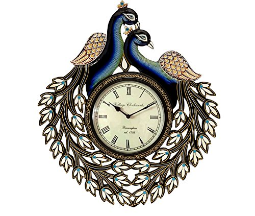 18 x 18 Double Peacock Hand Crafted And Hand Painted Wooden Ethnic Vintage Wall Clock ()