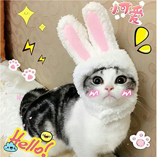 Hotumn Easter Cute Bunny Ears Plush Headdress Cat White and Pink Rabbit Hat Decoration Girl White Rabbit Cap for -