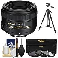 Nikon 50mm f/1.4G AF-S Nikkor Lens with 3 UV/CPL/ND8 Filters + Tripod + Kit for D3200, D3300, D5300, D5500, D7100, D7200, D750, D810 Cameras