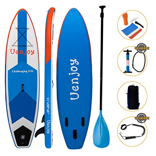 Uenjoy 11' Inflatable Stand Up Paddle Board (6 Inches Thick) Non-Slip Deck Adjustable Paddle, Backpack, Two-Way Pump, Safety Leash, Repairing kit, Blue