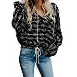 Anxinke Women Fashion Printing Long Sleeve V Neck Pullover Sweatshirts (M)