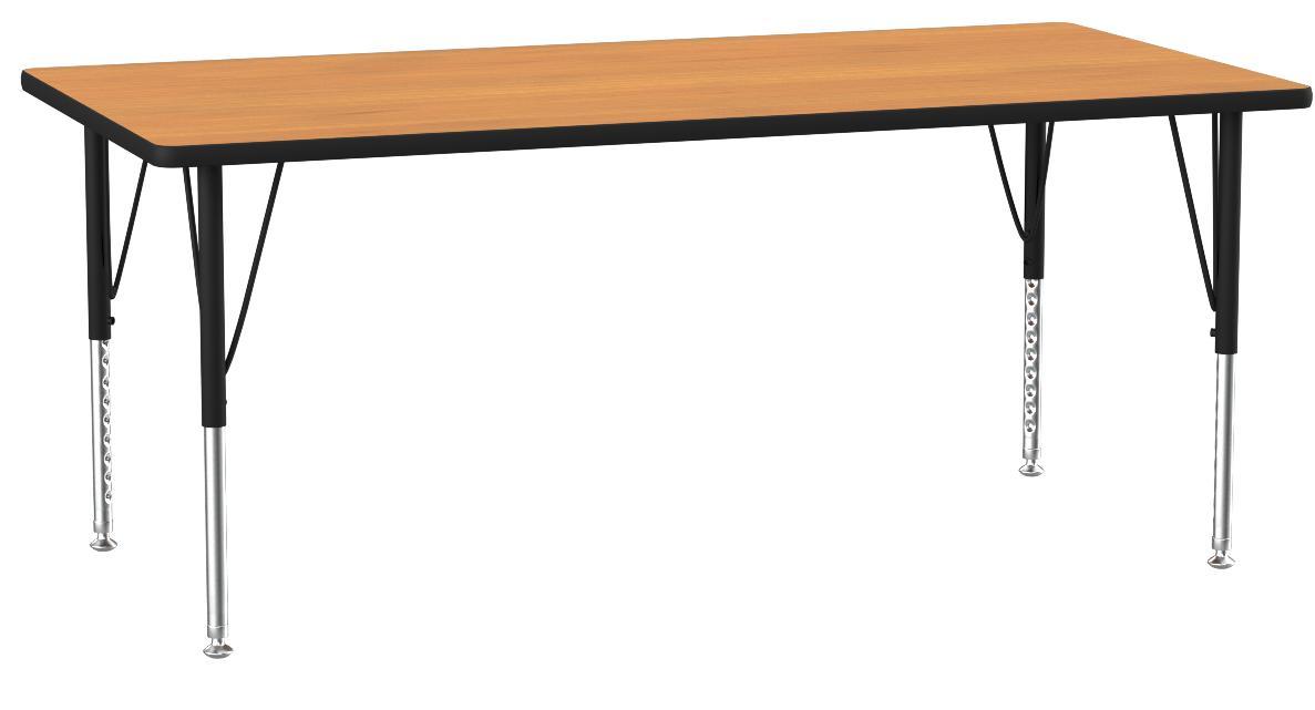 Flash Furniture 24 W X 48 L Rectangular Oak Thermal Laminate Activity Table Height Adjustable Short Legs Furniture Decor Amazon Com