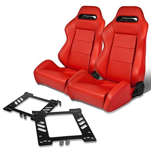 Pair of RSRLTRRD Racing Seats+Mounting Bracket for Volkswagen Golf/Jetta/Beetle Mk4