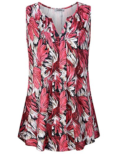 e Womens Sleeveless Tops Soft Stretchy Modest Polyester Cute V Neck Floral Leaf Printed Tunic Tank Shirts Soft Surroundings Clothing Red XXL ()