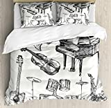 Ambesonne Jazz Music Duvet Cover Set, Illustration of Musical Instruments Sketch Style Art with Trumpet Piano Guitar, Decorative 3 Piece Bedding Set with 2 Pillow Shams, Queen Size, Ecru Black