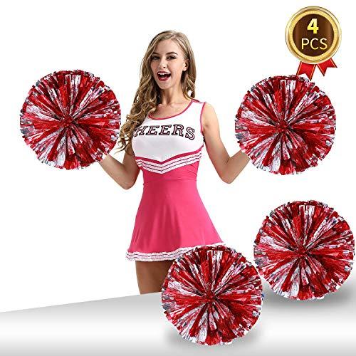Pack of 4 Cheerleading Pom Poms Foil Plastic Metallic Cheerleader Pom Poms for Cheer Sport Kids Adults Team Spirit Cheering (Red/Silver)]()