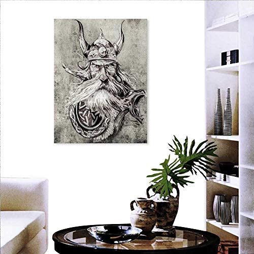 Flower Canvas Print Art Wall Deco Artistic Pencil Drawing of a Brave Viking Warrior with Armour Image Adventure Wall Hole Sticker 32