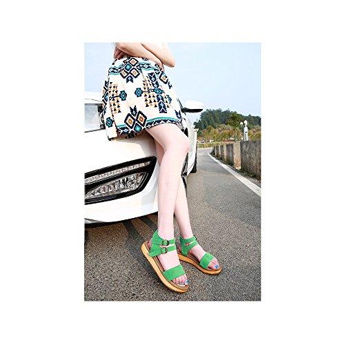 OCHENTA Sandalias con tiras planas metalizadas con hebilla para mujer #12Verde