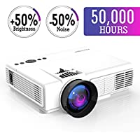Projector,2018 Upgraded LED Video Projector +50% Brighter-50,000 Hour LED,+20% lumens Mini Portable Projector Support 1080P HDMI USB TF VGA AV for Home Theater For Watching 2018 FIFA World Cup(White)