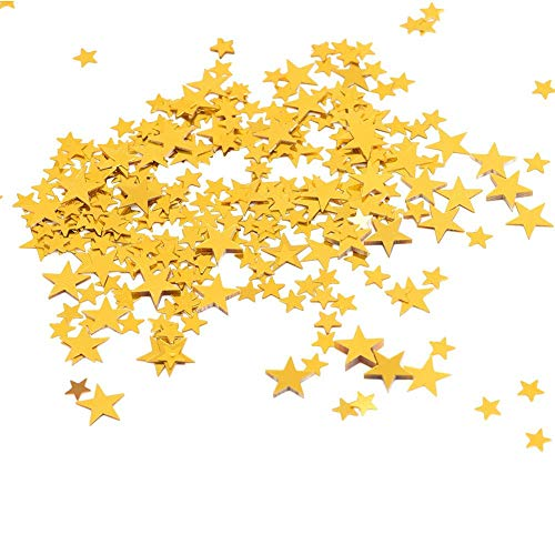 Star Confetti Sparkling Wedding Birthday Party Loose Sequins Glitter Supplies Decoration Red Gold Silver Rose Gold 0.4 Inch(Gold) ()