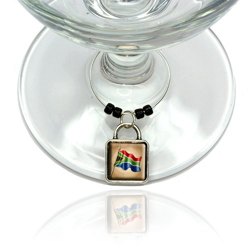 Vintage South African Flag South Africa Wine Glass Drink Marker Charm ()