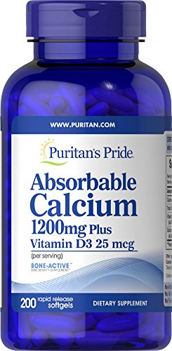 Puritan's Pride Absorbable Calcium with Vitamin D 3 1000iu Softgels, 1200 mg, 200 Count
